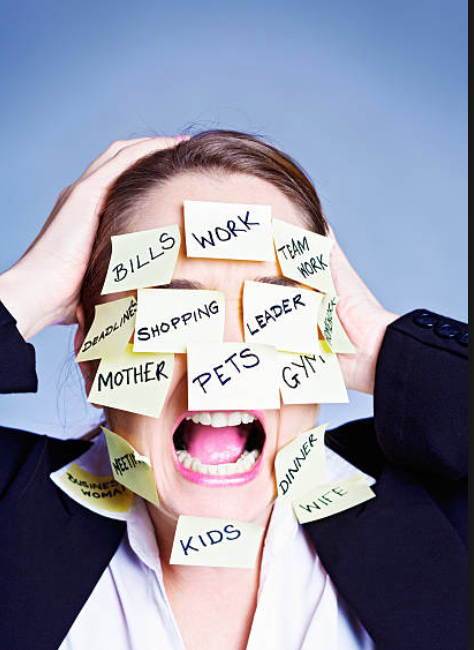 Woman's face covered with post-its with tasks and responsibilities like pets, work, house, cooking, etc. You get it.