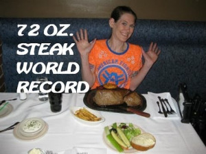 Molly Schuyler with a 72 ounce steak dinner.