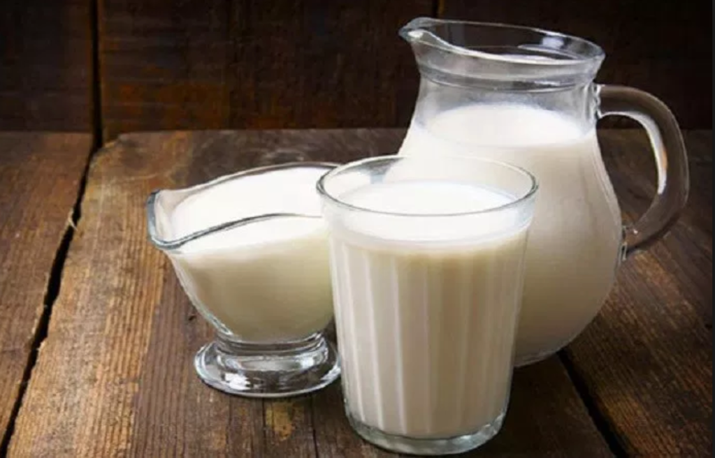 Whole milk and cream in glass pitchers, sitting on a rustic and attractive wood table.