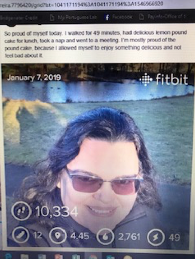 A screenshot of Happy Fernanda, reporting 10,334 steps, a nice lunch of lemon poundcake, and a nap. She is proud of enjoying the pound cake! Yum.