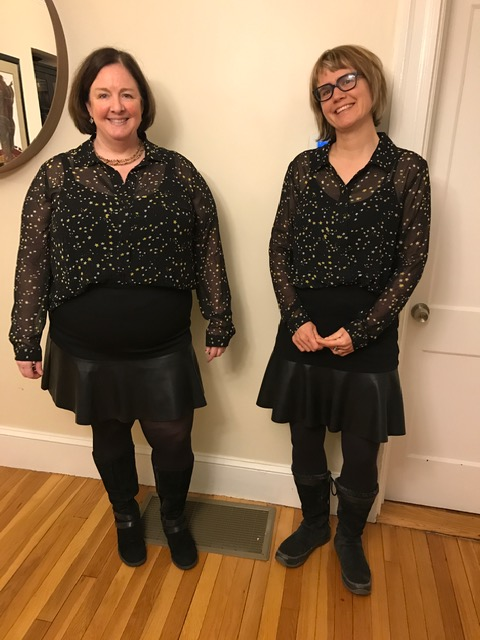 Rachel and me in our twin starry shirts, camisoles, pleather skirts. tights and boots.