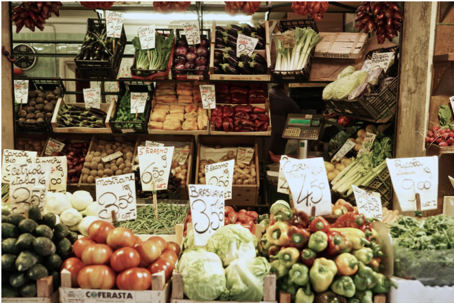 Produce at an open market.