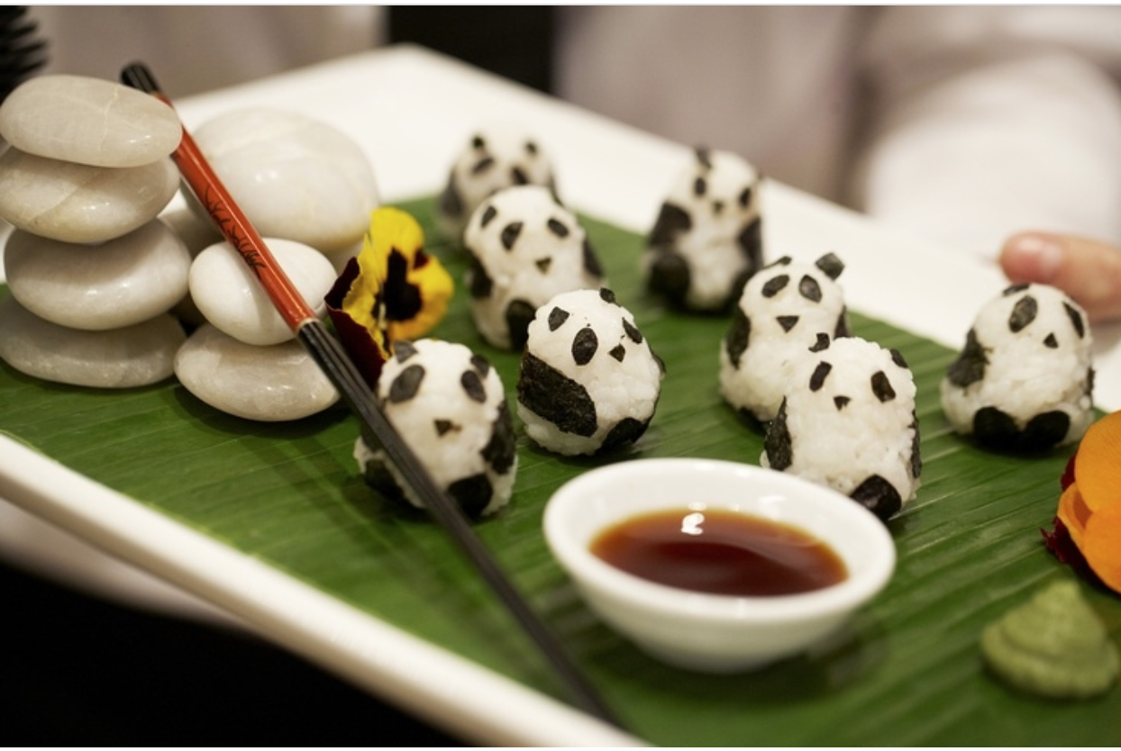 Panda bear sushi rice creatures.
