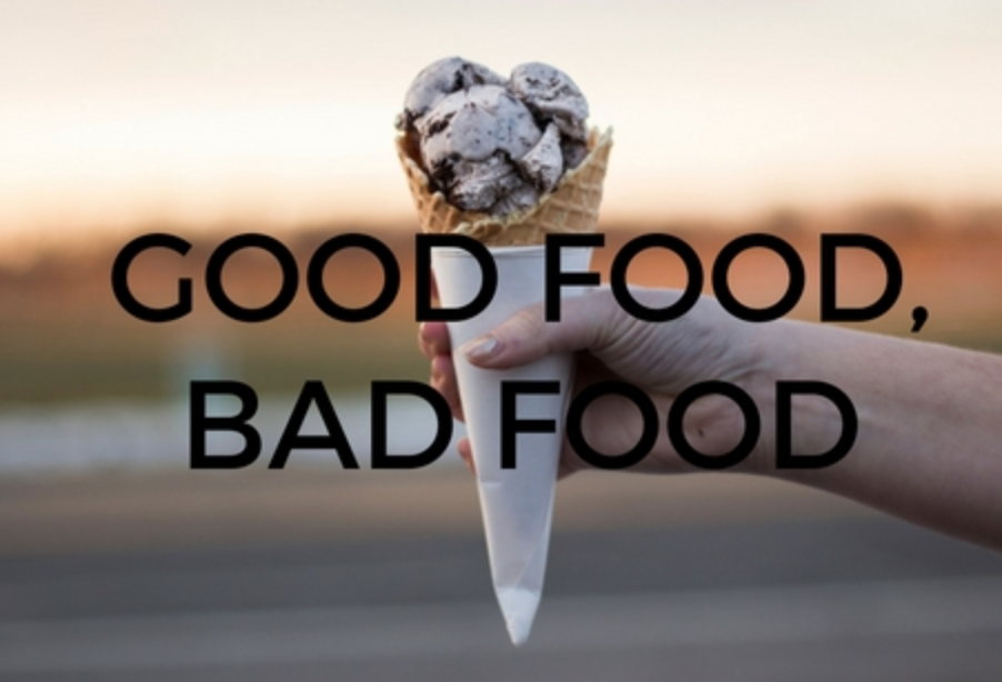 "A large ice cream cone with caption ""good food bad food"""