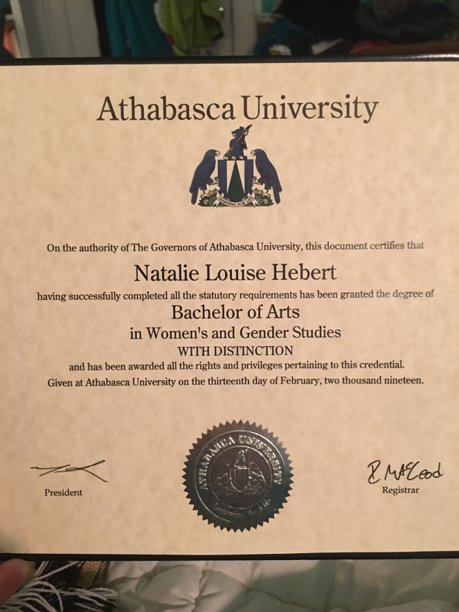 Photo of Natalie's BA certificate with Distinction
