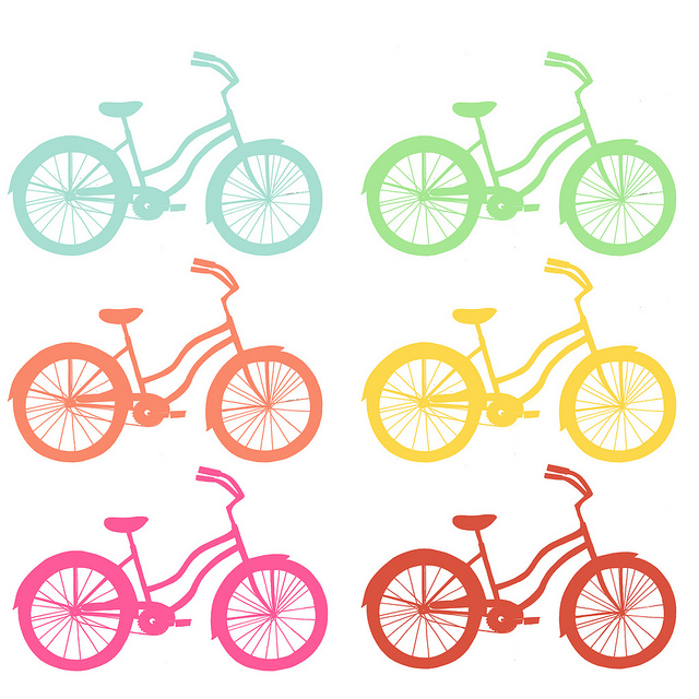 a picture of six stylized bicycles in rainbow colours