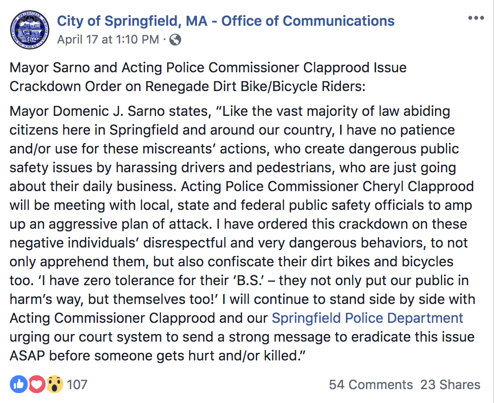 Post on FB from City of Springfield MA.