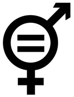 "Black and white combination of the ""mars-venus"" symbols for M and F, with a shared circle and an equals sign in the middle of the circle."