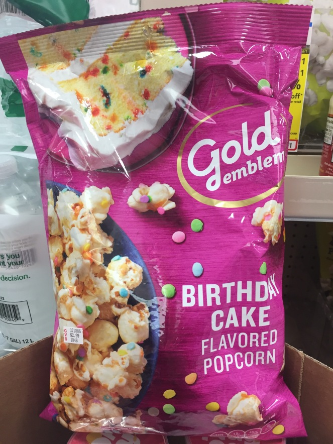 Yes, this is birthday cake-flavored popcorn, or so it says.