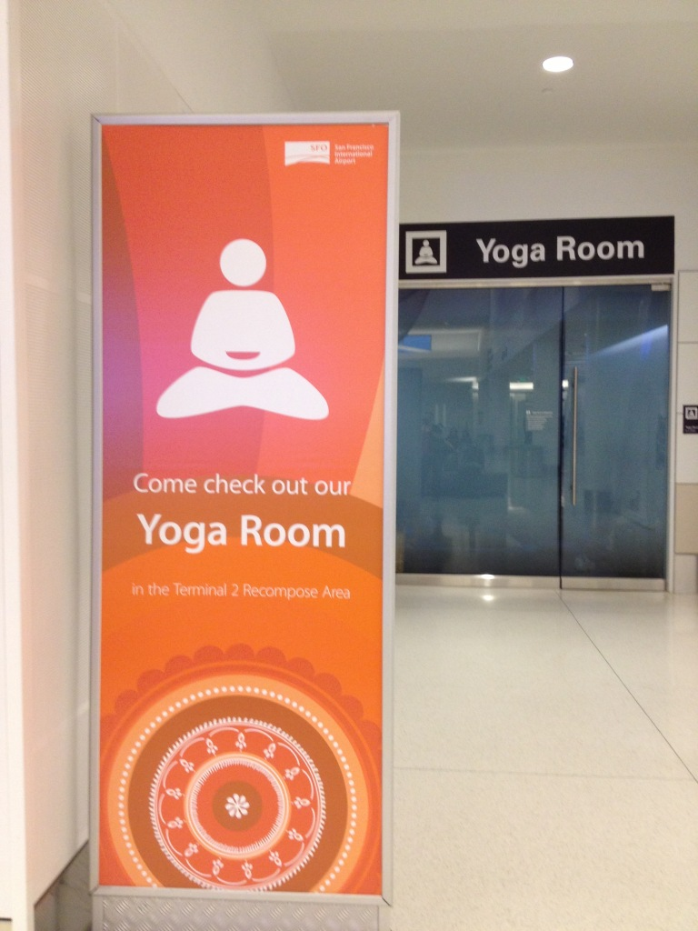 The much fancier sign for the yoga room at SFO airport.