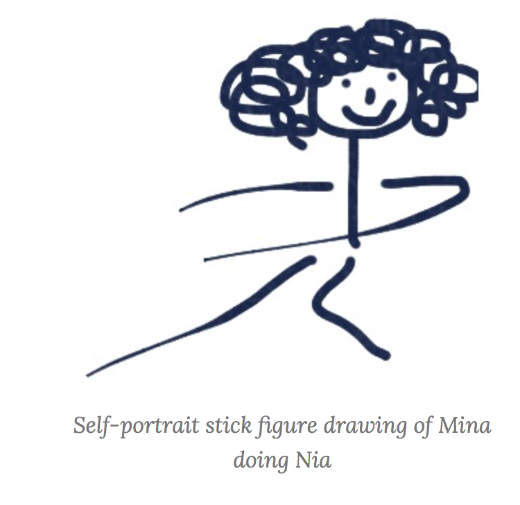 Self portrait stick figure of Mina doing Nia