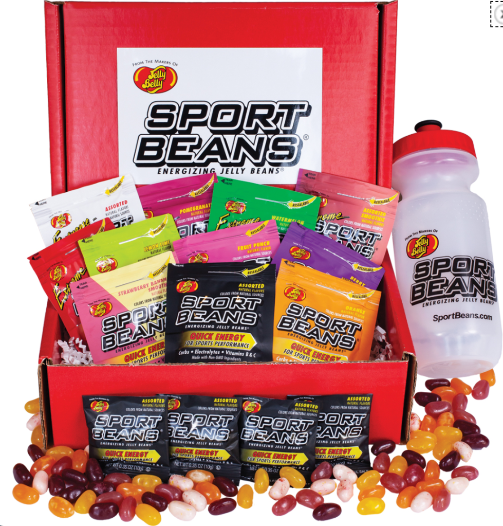 A veritable cornucopia of flavors and types of sport beans (glorified jelly beans in tiny expensive packages).