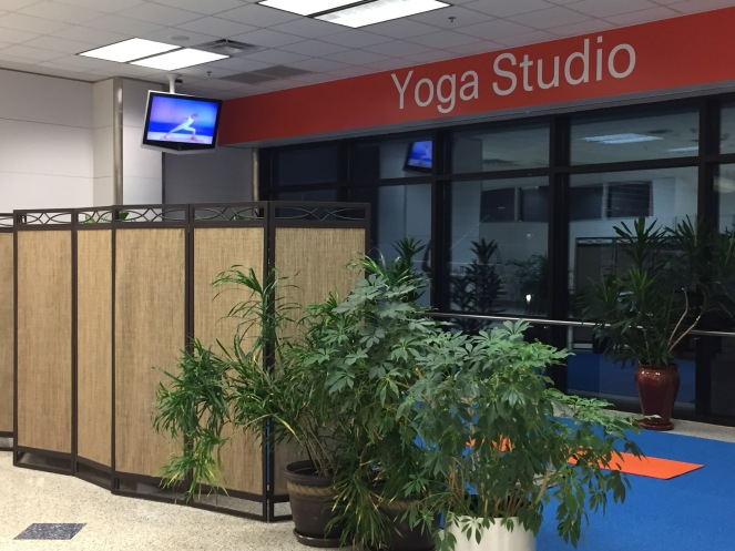 The yoga studio at DFW in all its modest glory.
