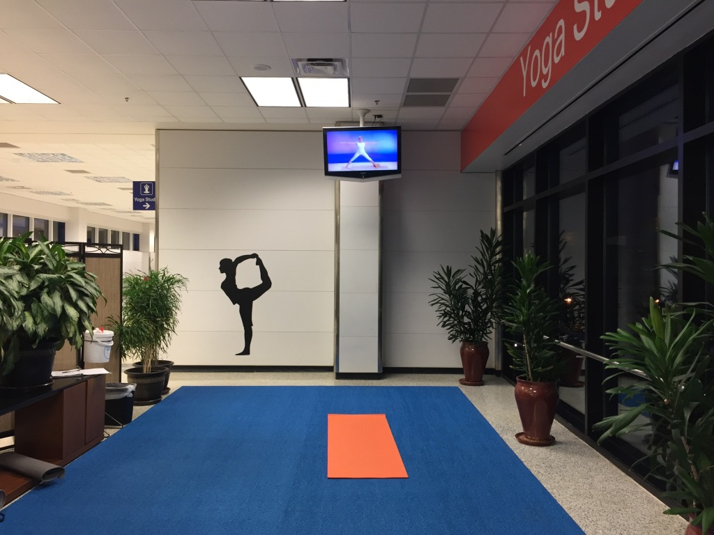 DFW's yoga space from inside, with some matting, yoga mats in addition, large potted plants, inspirational wall art, and a video of a white woman in white yoga clothes offering instruction, which I ignored.