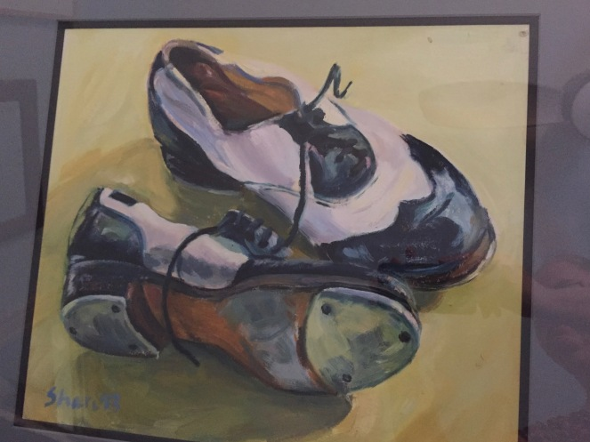 My used and much-loved Dansky tap shoes, a work done in oil by Shari Hersch.