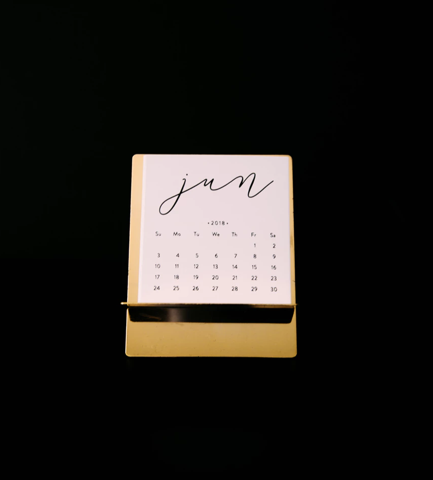 A calendar of the month of June, against a black background.