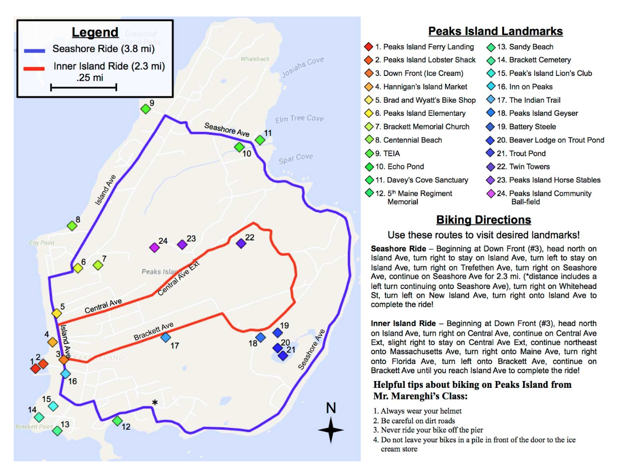 Map of Peak's Island, Maine, with bike loops marked, and directions, too.