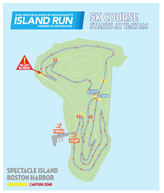 The twisty, turny route for a 5K race on Spectacle Island.