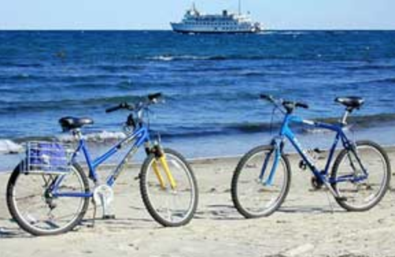 Rental bikes on the beach, with a ferry boat in the background.