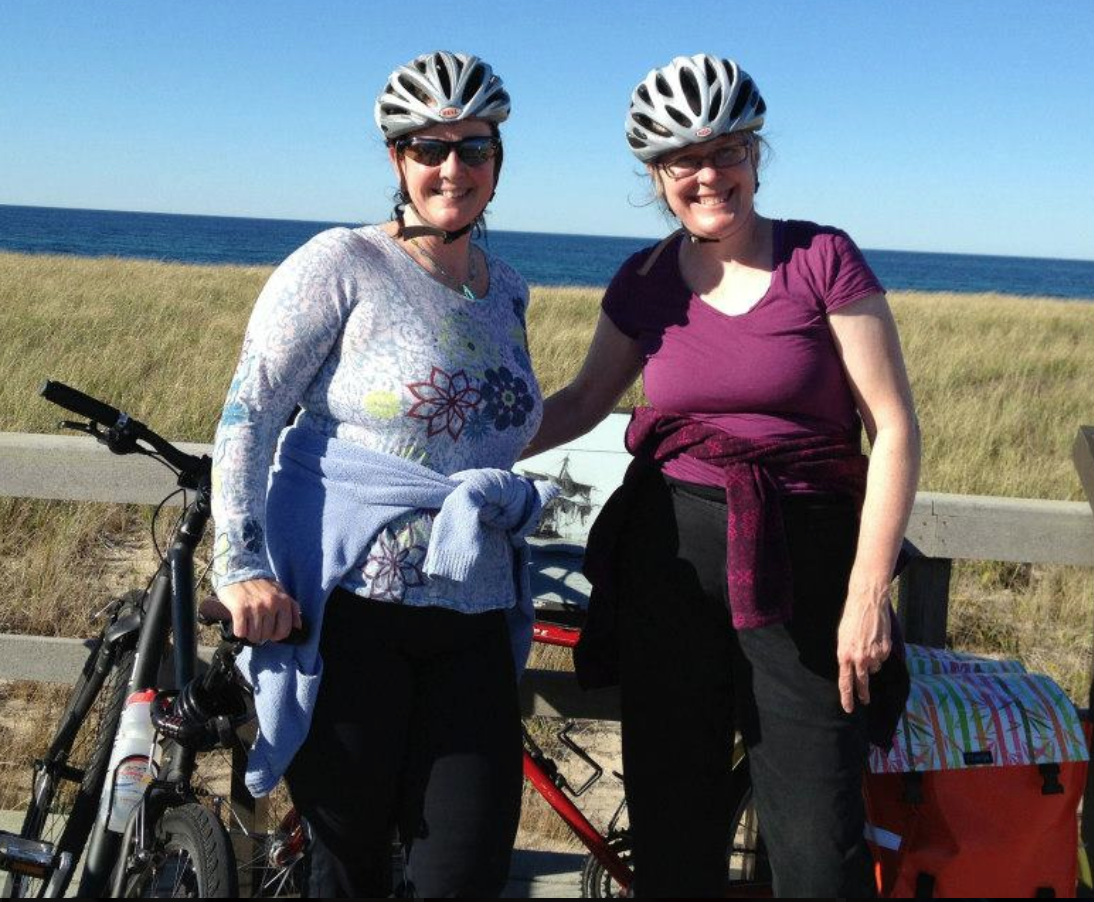 Norah and me biking near Provincetown, 2012.