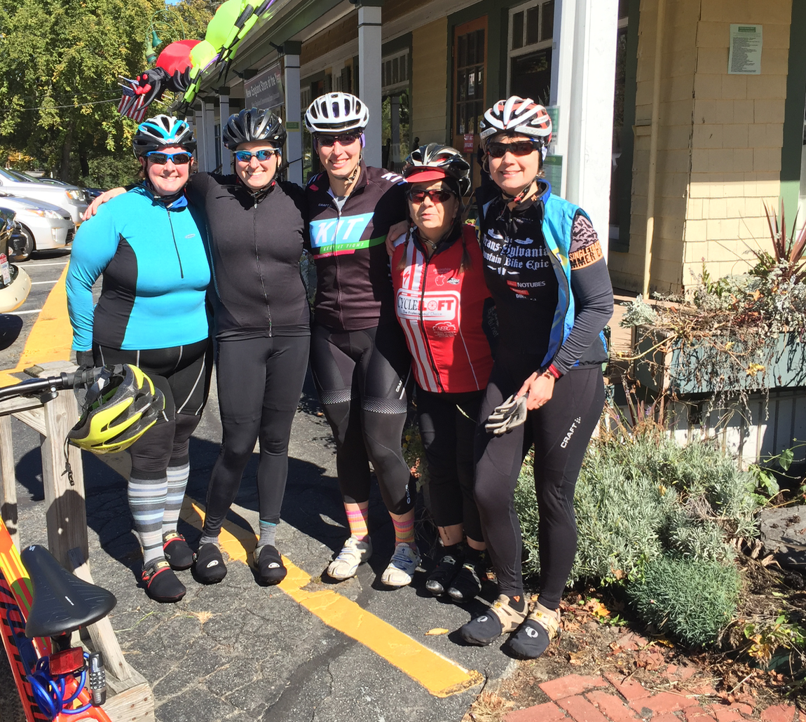 Janet, Steph, Pata, Rachel and me, biking out in Carlisle, MA. 2016.