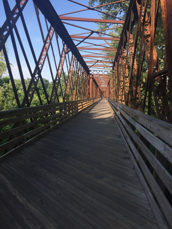 Rail trail bridge over the Connecticut river. Ooooh....
