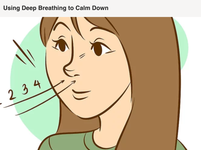 "Person taking in a long breath, with caption ""using deep breathing to calm down""."