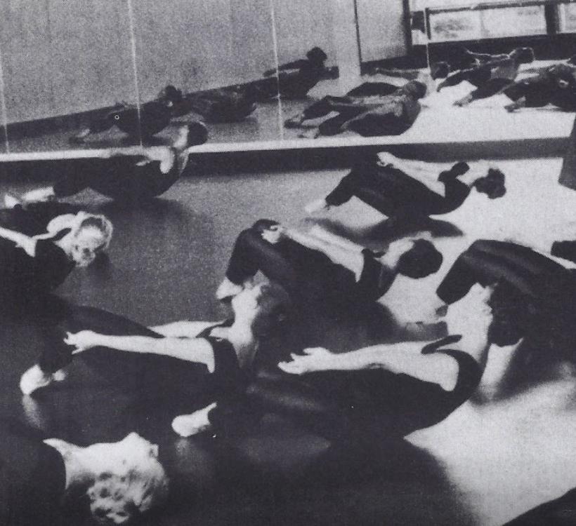 Students doing abdominals technique-- black and white photo.