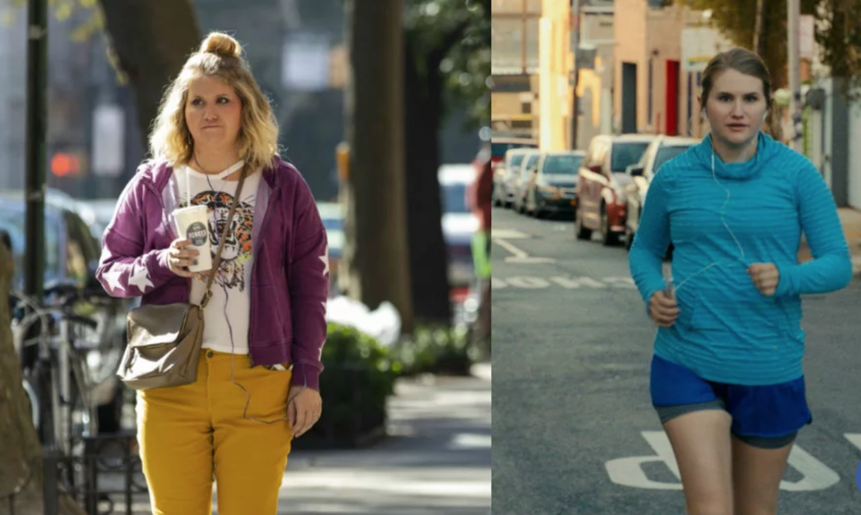 Yes, it's before-and-after photos of Brittany. She's standing, holding a soda on the left and running on the right.