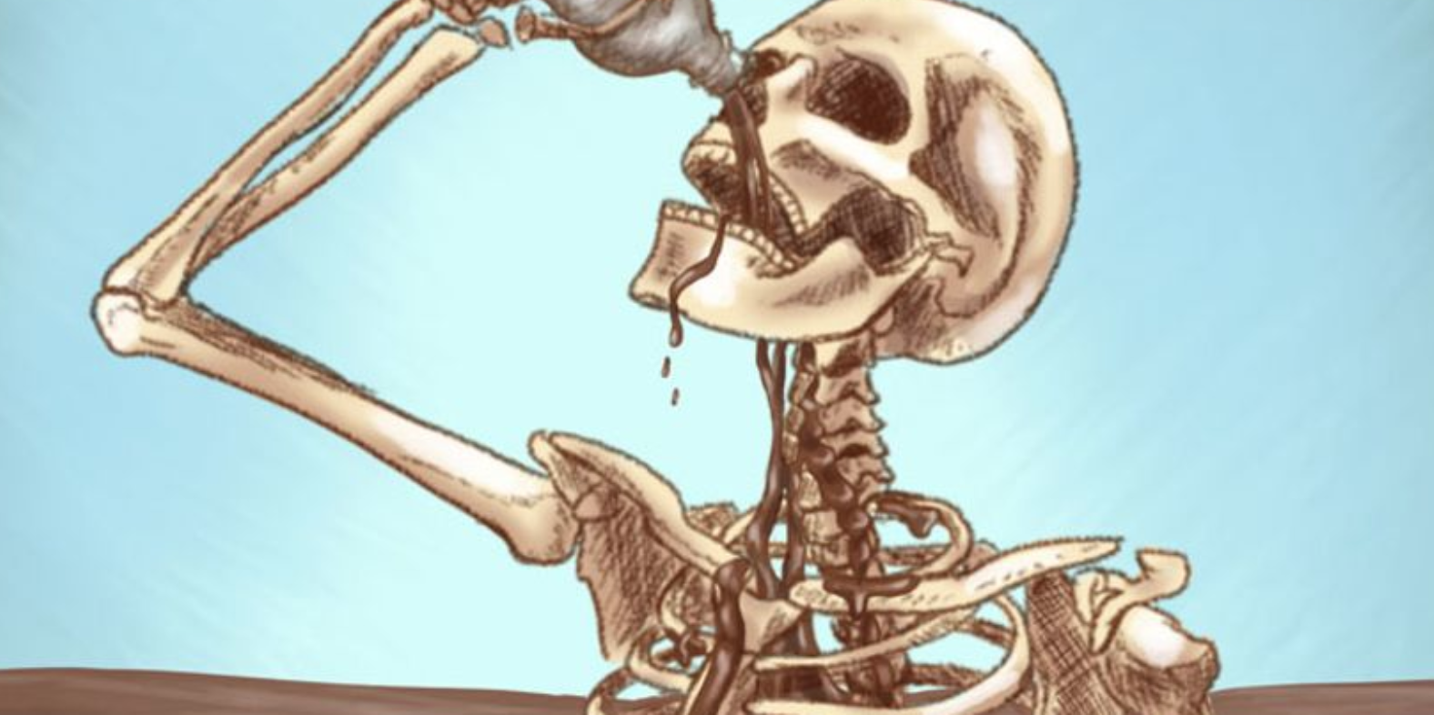 Yes, it's a skeleton attempting to drink soda.