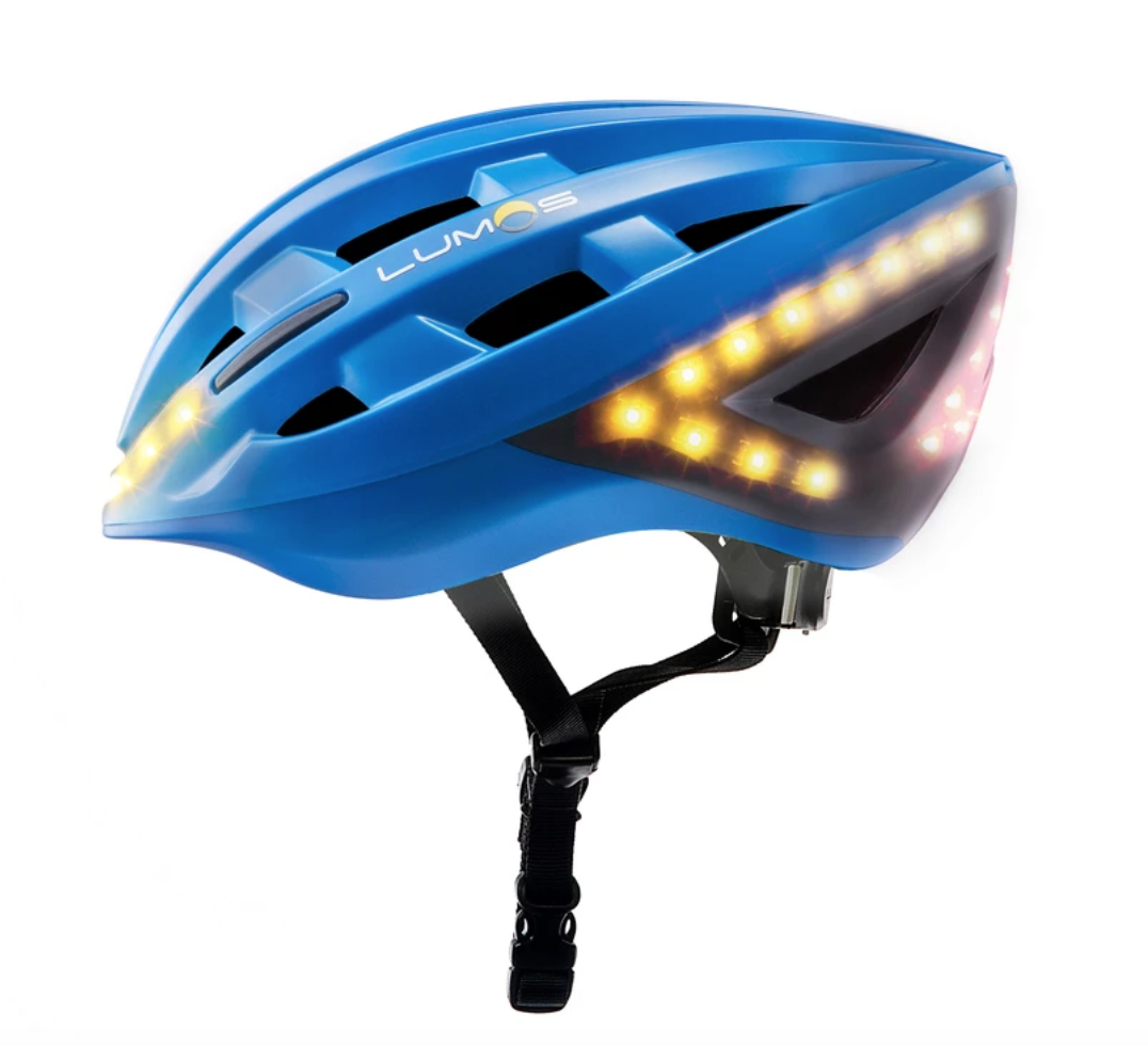 Blue Lumos helmet, with lights on front, side and back.