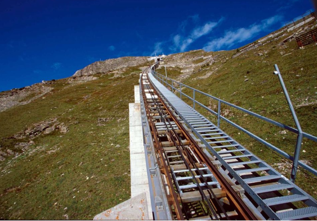 Niesenbahn funicular stairs in Switzerland. 11,674 stairs. Yeah.