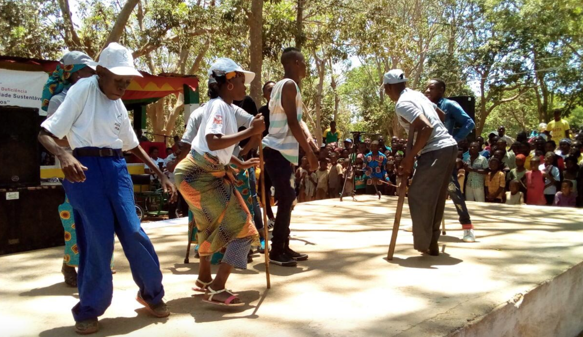 Dancers at a fair in Namialo, Mozambique.