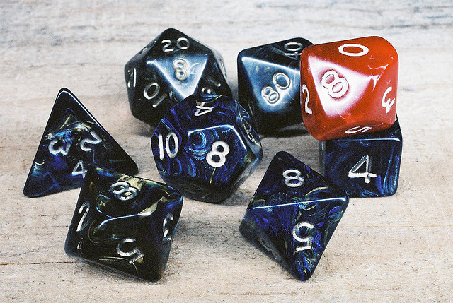 Role-playing dice on a table.