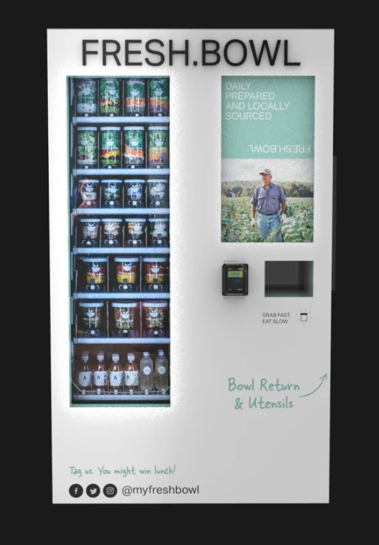 A salad vending machine, from Fresh Bowl.