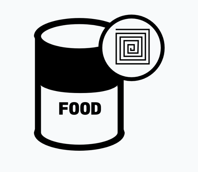 graphic drawing of can of food.