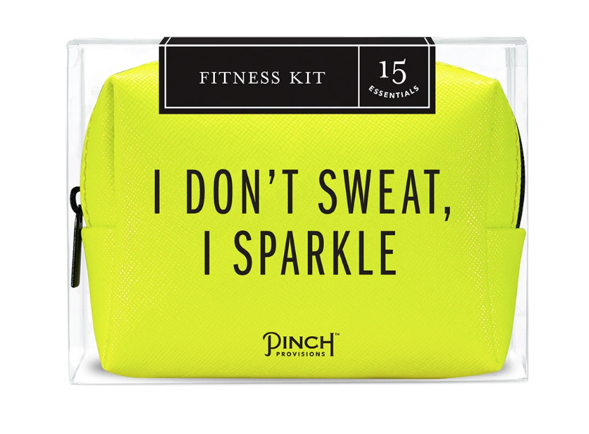 "An otherwise-useful item (this is a gym toiletries kit) marred by lady-athlete sayings.This one says ""I don't sweat, I sparkle"". Ugh."