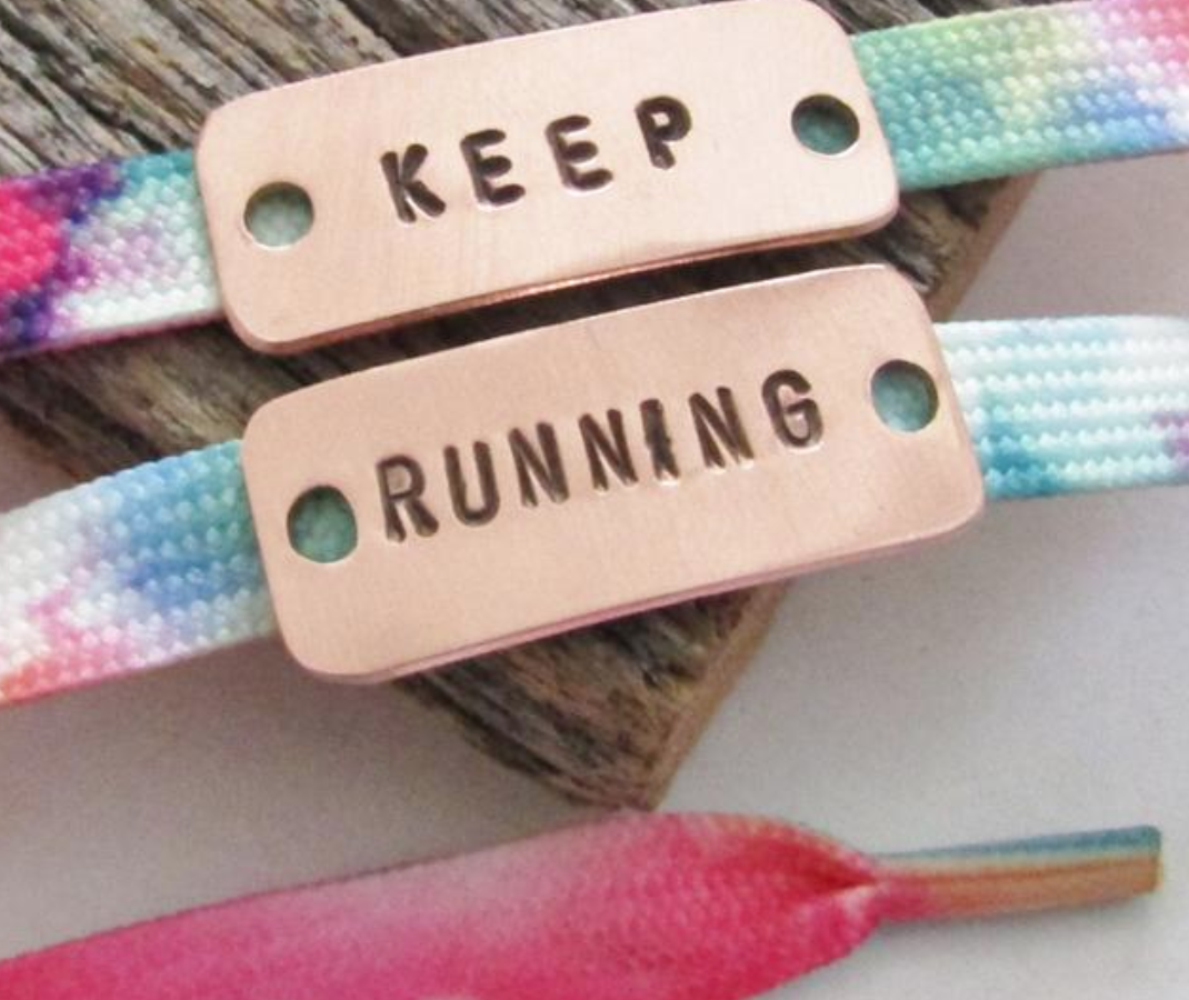 Customized shoelace tags; if I were in the mood to wear such, this would not be my message (keep running). But that's me.