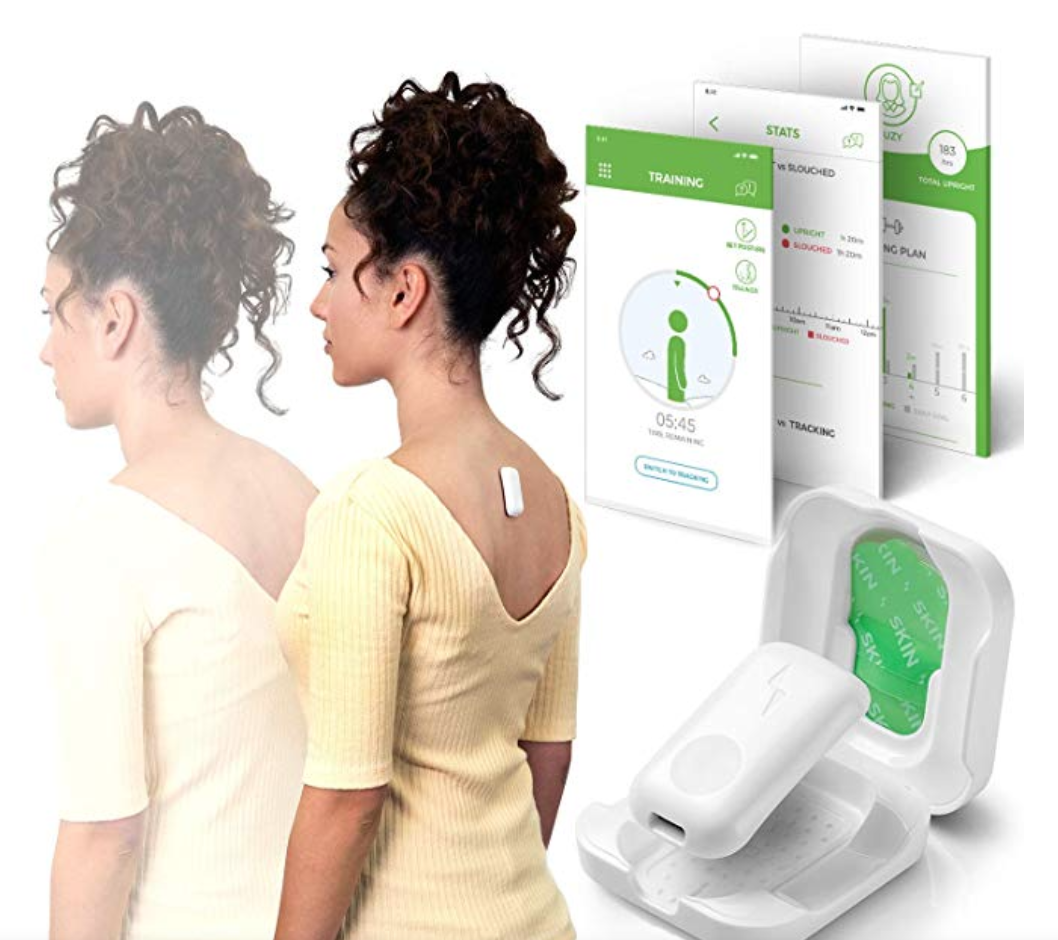 Posture trainer-- you stick it on your back, and it vibrates when you slump. Get it off, get it off me!