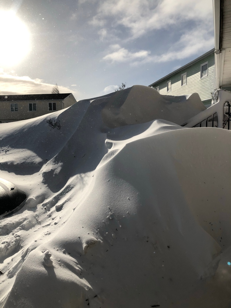 Two large snowbanks are in the  foreground and houses can be seen in the background.  There is a bright blue sky above.