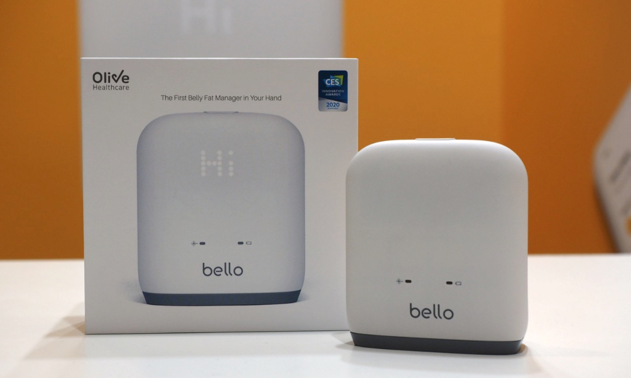 The Bello belly fat scanner, in its box and out in nature.