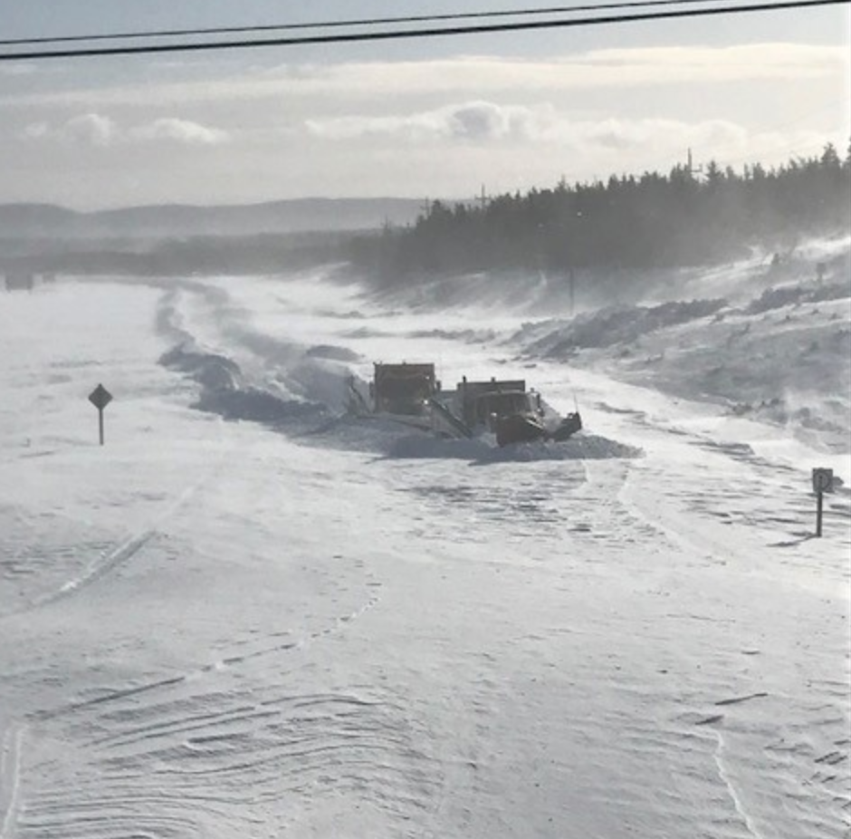 Two brave Newfoundland snowplows, making their way to open up a highway (yes, that's right).