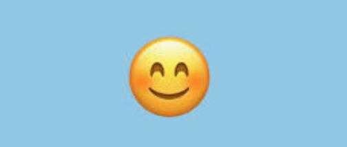 Smiling emoji, filling in for smiling Catherine.