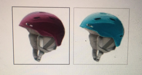 A photograph of an online shopping page. Two ski helmets are displayed in profile side-by-side. One is berry coloured with grey straps, and the other is turquoise with grey straps.