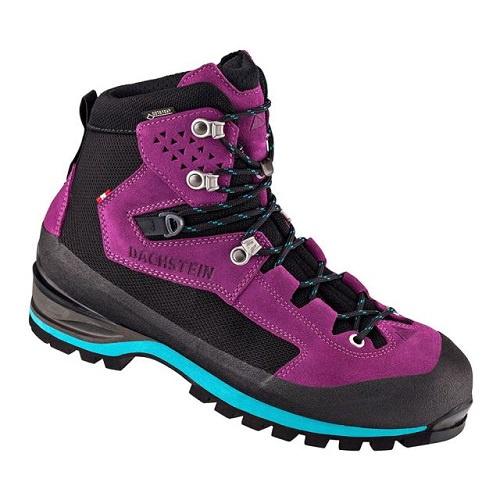 "A single hiking boot with black and berry-coloured uppers with black and turquoise laces. The sole of the boot is black with a turquoise stripe. The brand name ""Dachstein"" is displayed next to the laces."
