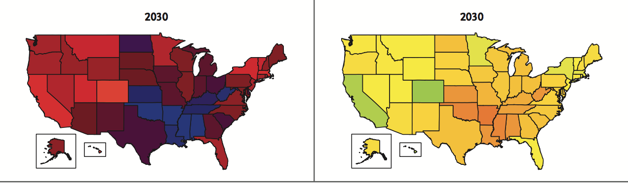 Projections of BMI>30 (left), and BMI>35 (right) in states of the US, with darker colors indicating greater percentages in those states.