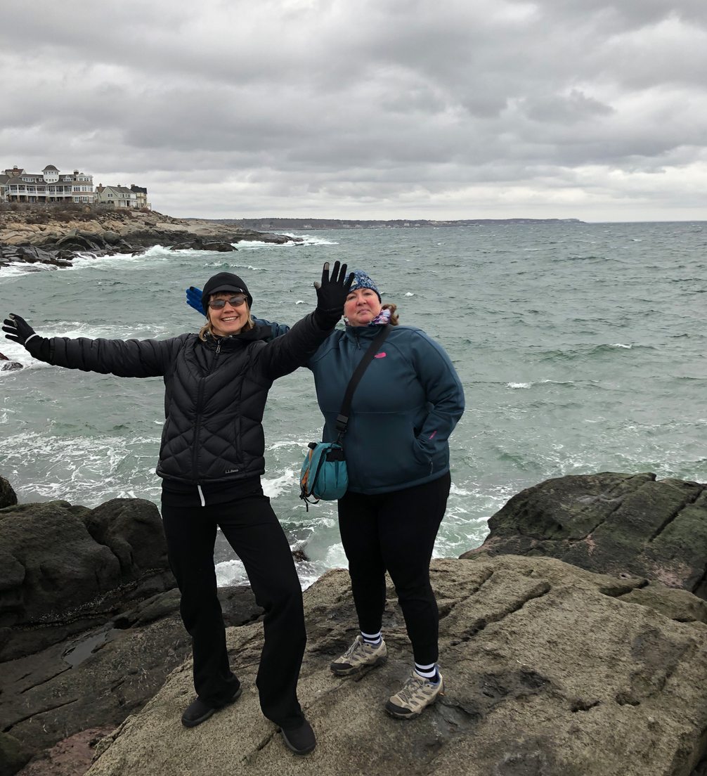 Rachel and me, on rocks at the Nubble lighthouse which was (unfortunately out of the shot).