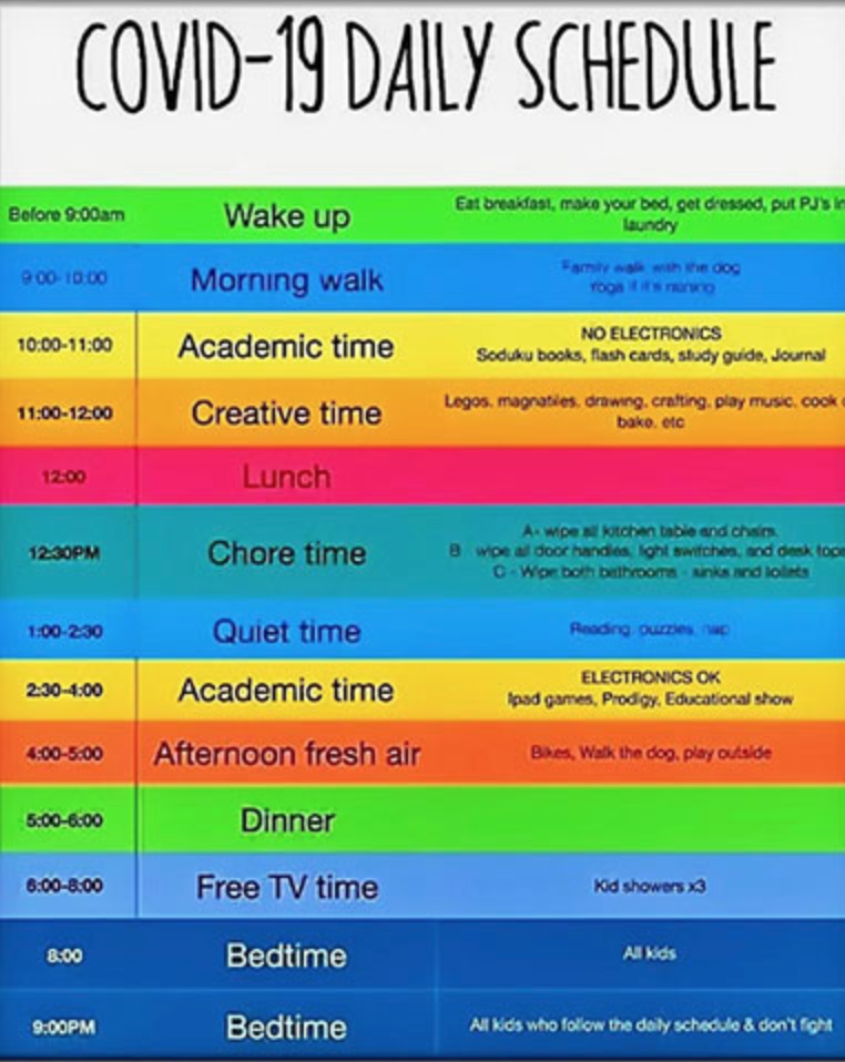 A daily schedule with time slots for almost everything.