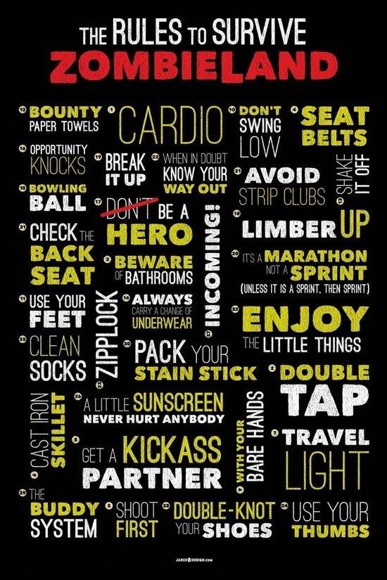 A word cloud of the Zombieland rules including 1. Cardio, 20. It's a marathon, not a sprint, unless it's a sprint and then it is definitely a sprint! 17. Be a Hero