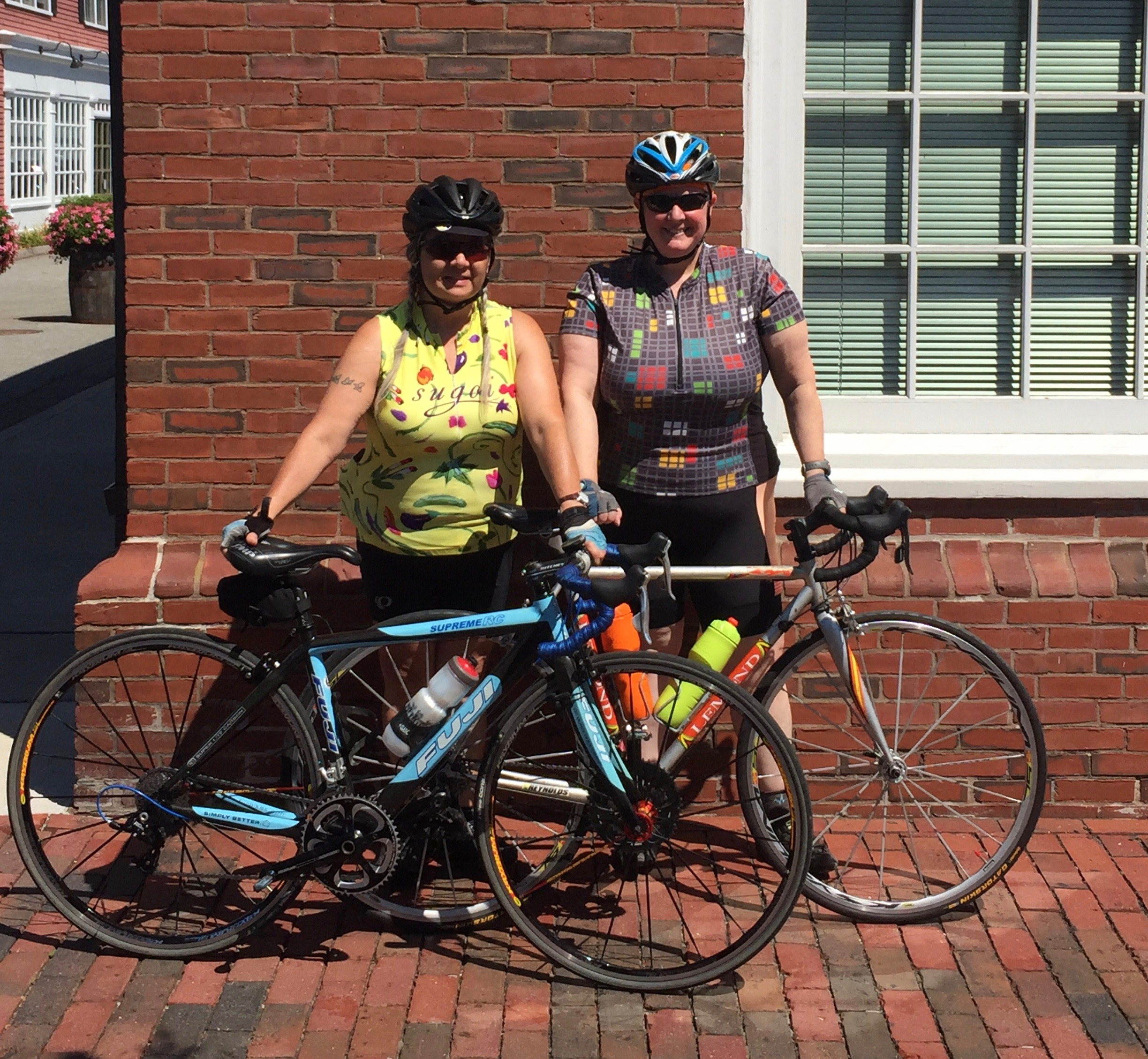 Pata (on left) and Catherine, last summer during one of our coffee rides.